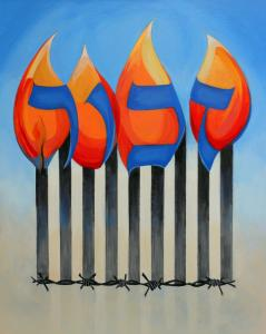Holocaust Remembrance Painting, Zachor, Now Available By Contemporary Judaic Artist, Marlene Burns
